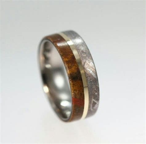 Meteorite, dinosaur fossil and gold mens wedding ring