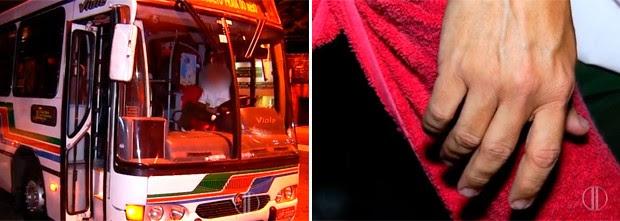 Ainda com as mãos trêmulas, motorista relatou o drama que sofreu ao ser assaltado (Foto: Reprodução/Inter TV Cabugi)