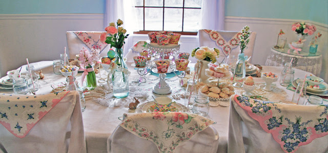 Vintage Pearls And Hankies Romantic Spring Dining Table