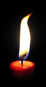 A close-up image of a candle showing the wick and the various regions of the flame. Note the truncated wick being consumed at the lower-right edge of the flame.