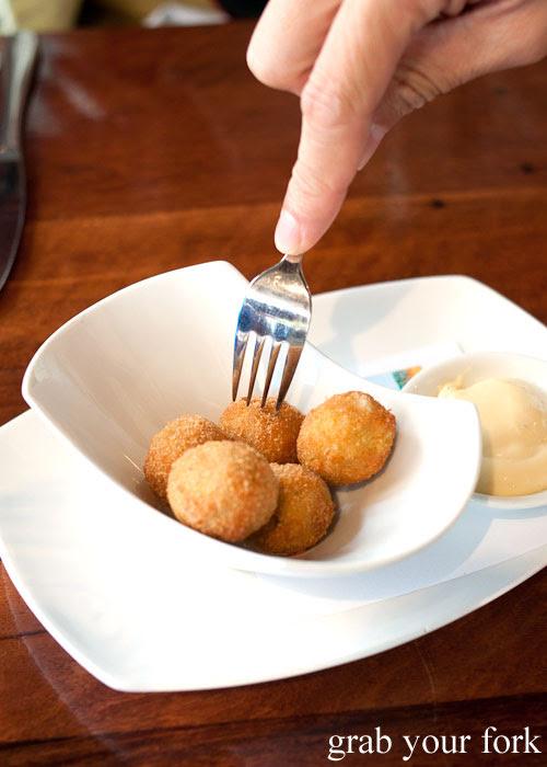 fried stuffed olives canapes d'Arrys Verandah Restaurant, McLaren Vale, South Australia