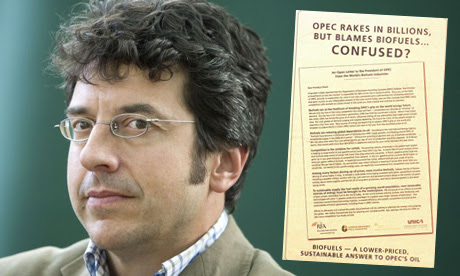 George Monbiot with an ad for biofuels