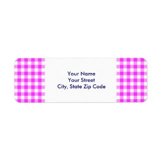 Pink and White Gingham Pattern return address labe Custom Return Address Labels