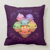 Sweet Kawaii Cupcakes American MoJo Throw Pillow mojo_throwpillow