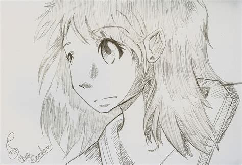 pictures anime girl drawn pencil drawings art gallery