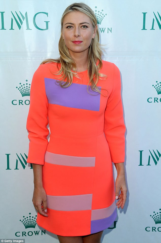 Flawless: Maria wore her blonde locks tussled around her shoulders and sported a face of fresh make-up