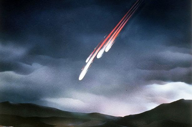 An artist's impression of meteorite fall and fireball