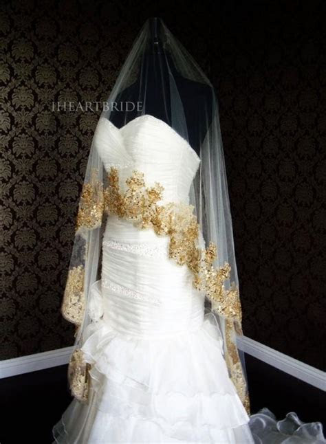 luxury gold lace bridal veil beaded gold lace drop circle