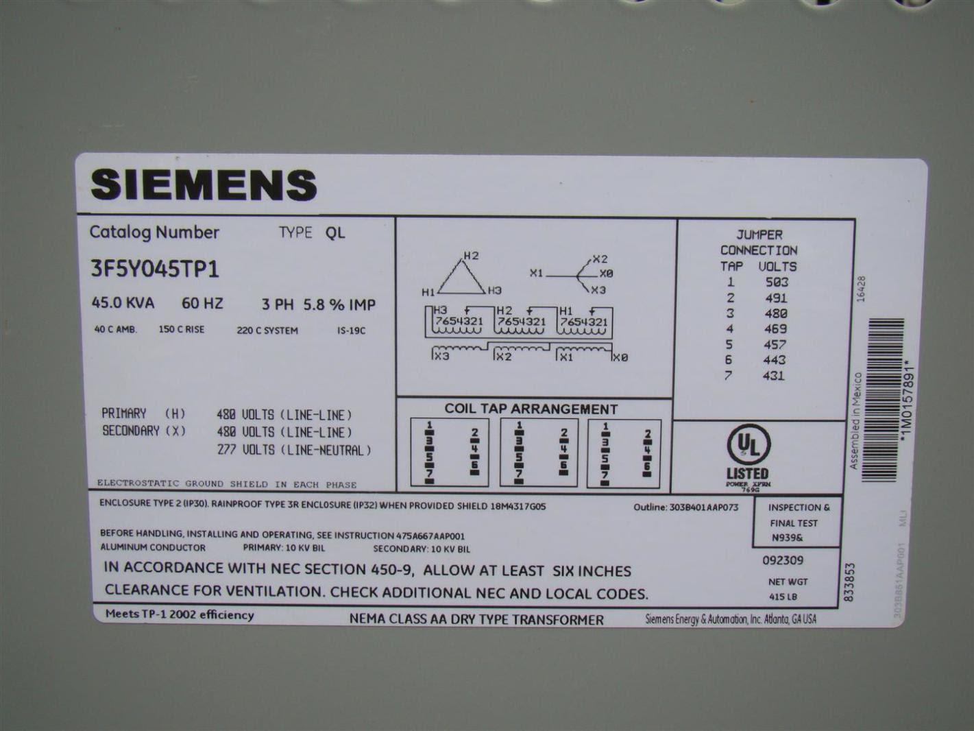 Siemens 3 Phase Transformer 480 x 480/277 Volt 45 KVA ...