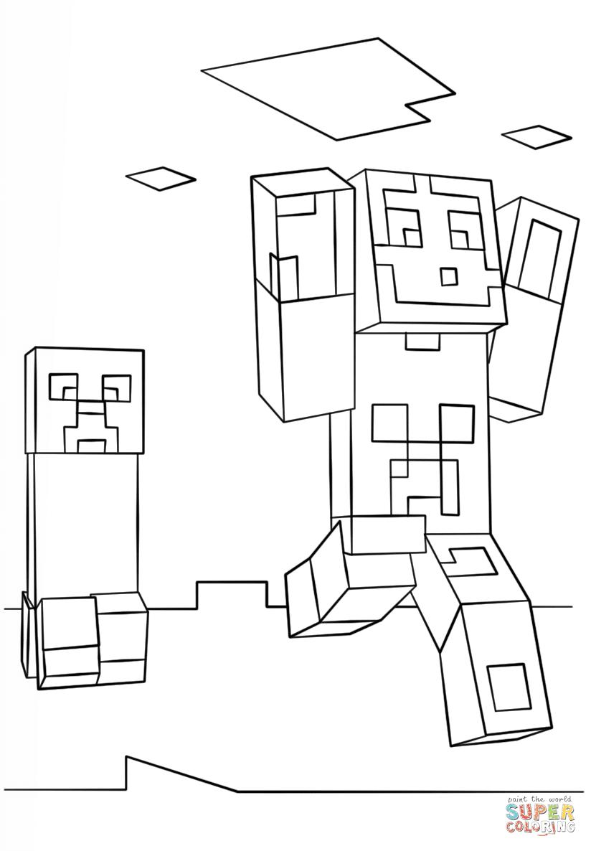 Kleurplaten Minecraft Steve.Bovenste Deel Kleurplaat Minecraft Monsters Krijg Duizenden