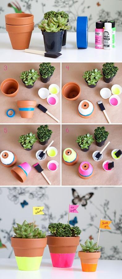 DIY Craft Tuturial: Neon Dipped Succulent Teacher Gifts, by Caroline @ Armelle blog, via hellobee