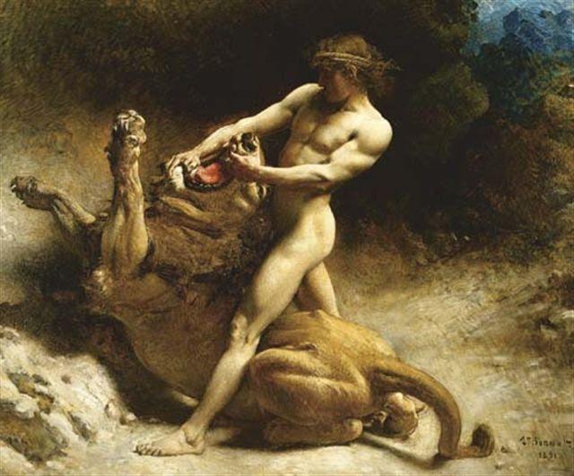 Hercules and the Nemean Lion Oil Paintings, Art Christian, Christian Wartist
