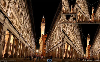 Uffizi Gallery, Florence and Golden Rectangles.