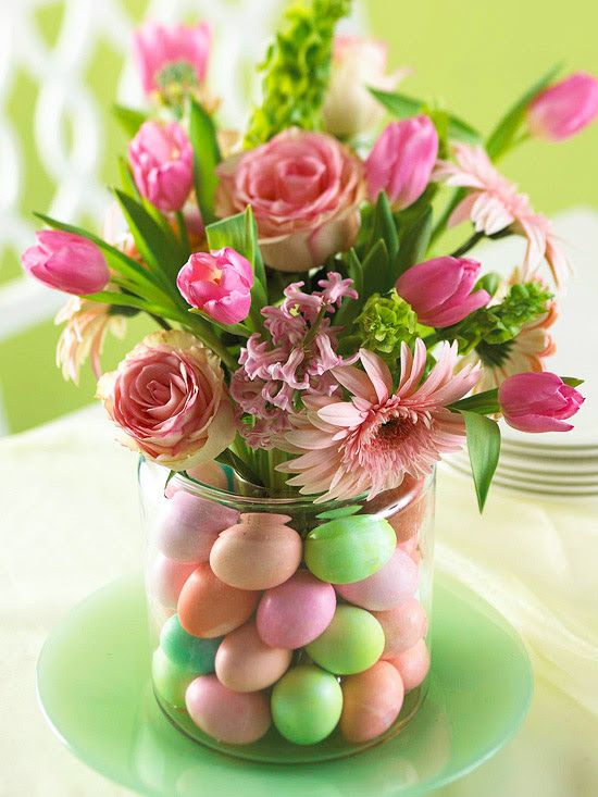 Floral and egg centerpiece