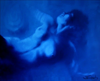 """Bruno Steinbach. """"Anjo azul"""". Óleo/tela, 80 x 100 cm, 2007, João Pessoa, Paraíba, Brasil. Coleção: José William Chianca. João Pessoa, Paraíba, Brasil. Catálogo 144."""
