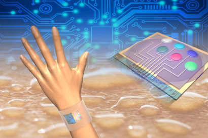 Wearable sensors measure skin temperature in addition to glucose, lactate, sodium and potassium in sweat. Integrated circuits analyze the data and transmit the information wirelessly to a mobile phone. (Image by Der-Hsien Lien and Hiroki Ota, UC Berkeley)