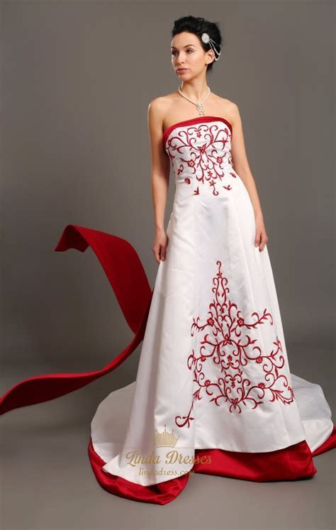 White A Line Strapless Satin Wedding Dresses With Red