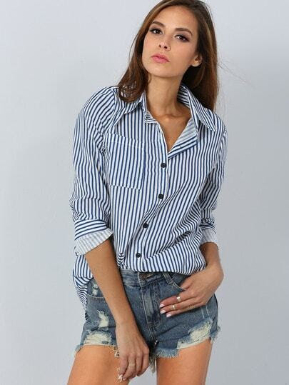 Blue Lapel Vertical Striped Blouse pictures