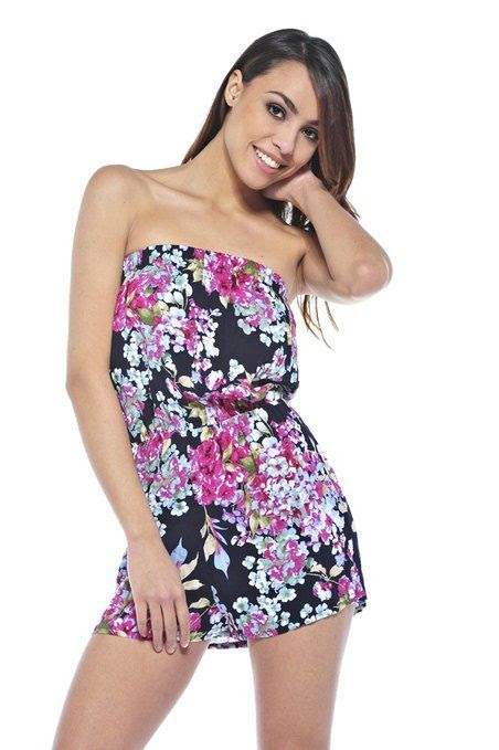 Amazon.com: AX Paris Women's Floral Printed Strapless Aqua Romper: Clothing