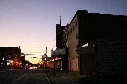 sun sets on the main theater