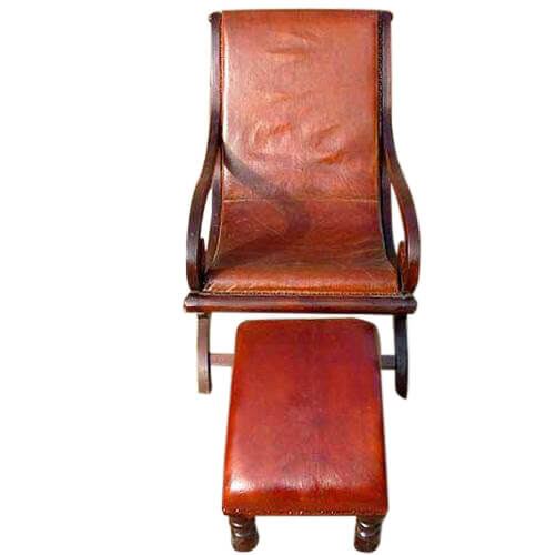 Solid Wood Leather Recliner Lounge Chair Footstool Set