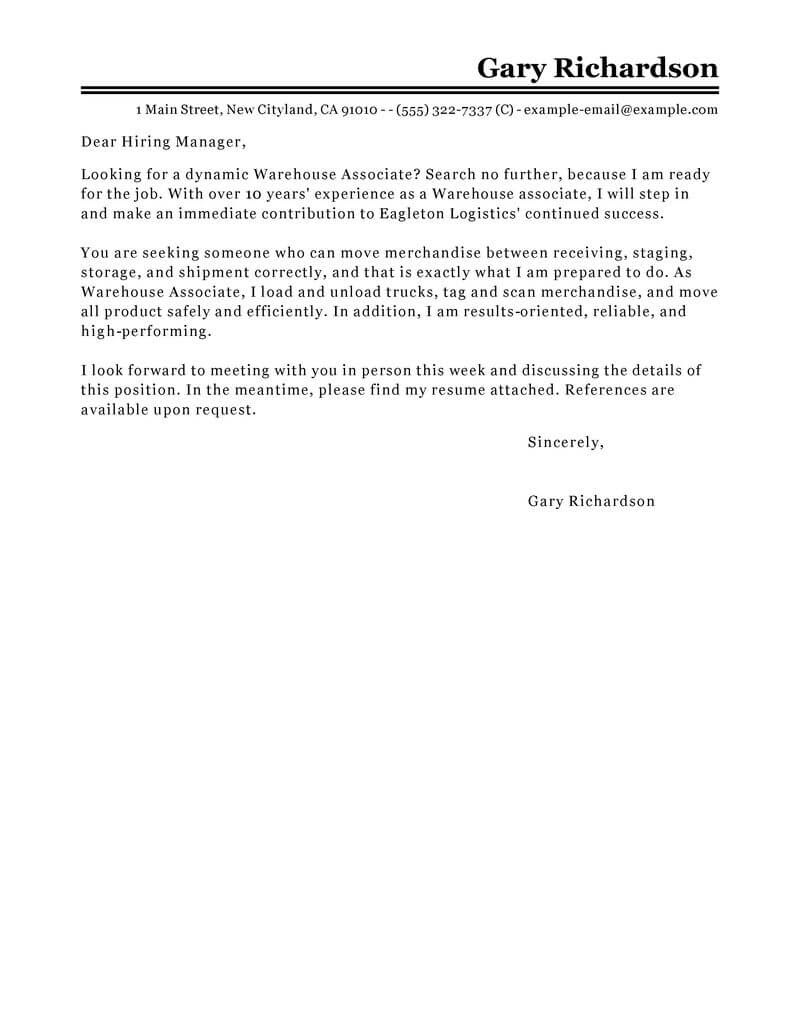 Warehouse Associate Cover Letter Sample Cover Letters