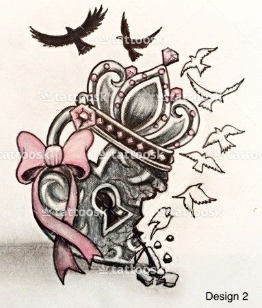 Lock Heart And Crown Tattoo Design