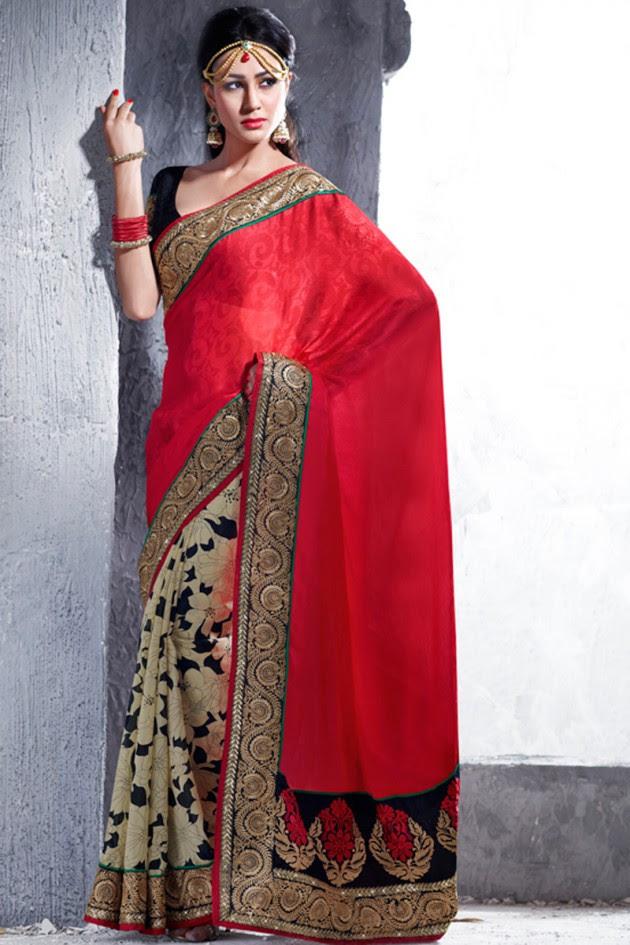 Indian-Brides-Bridal-Wedding-Party-Wear-Embroidered-Saree-Design-New-Fashion-Reception-Sari-6