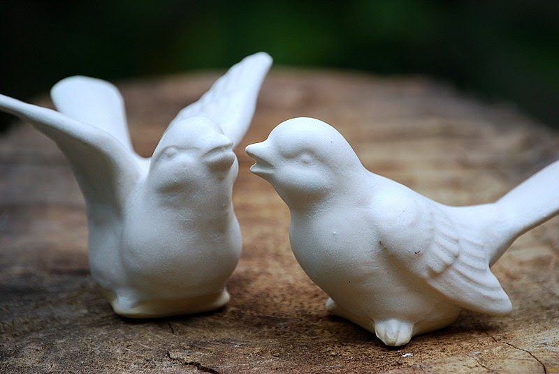 Bird Wedding cake toppers in ivory white From claylicious