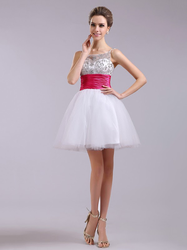 Short/Mini White Tulle Fuchsia Sashes Classic Square Neckline Crystal Detailing Prom Dress #JCD02051668