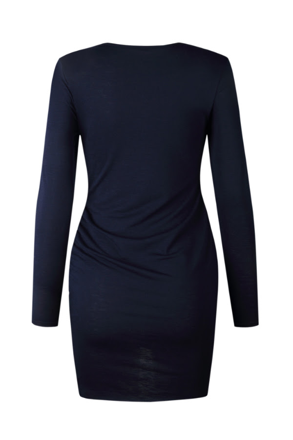 Sleeve Plain Hem Neck Short Dresses Bodycon Asymmetric Crew yonge and