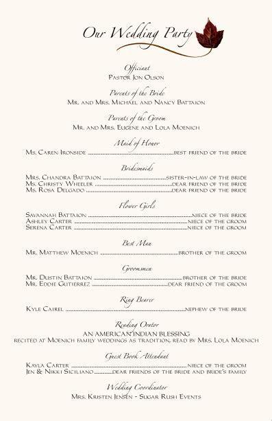 Wedding Ceremony Programs Wording Examples   Programs