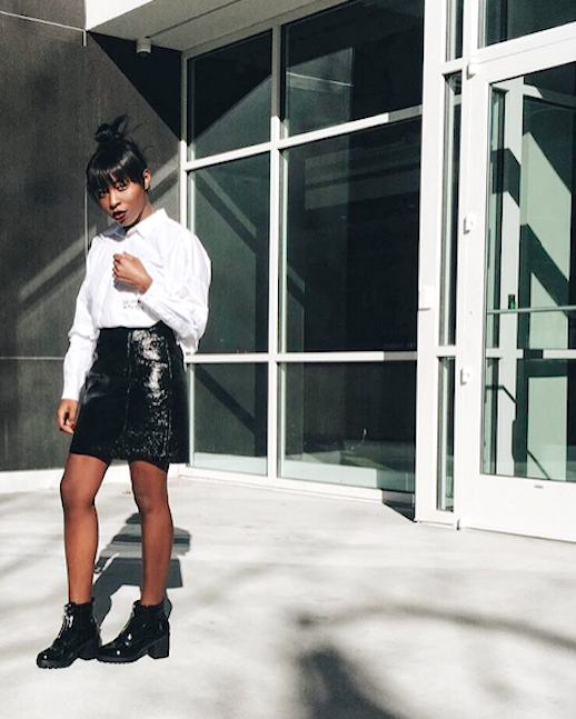 Le Fashion Blog White Button Down Ruffle Sleeve Top Patent Leather Skirt Patent Boots Via @ Cortnemorgan