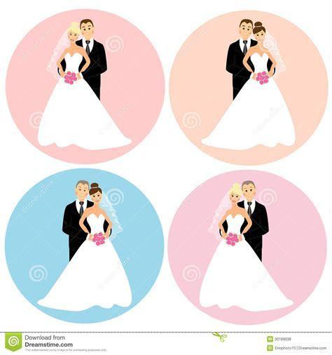 Set of wedding couples stock illustration. Image of