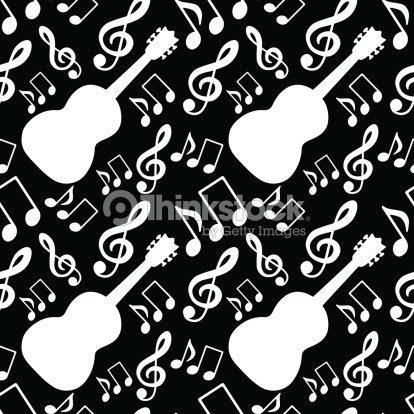 Patrón Sin Costuras Con Notas Musicales Clave De Sol Guitarra Arte