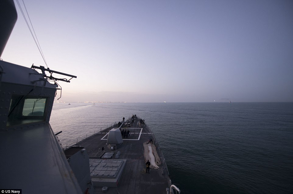 The USS Carney, pictured, departed Naval station Rota in Spain this morning in advance of the arrival of the Russian fleet