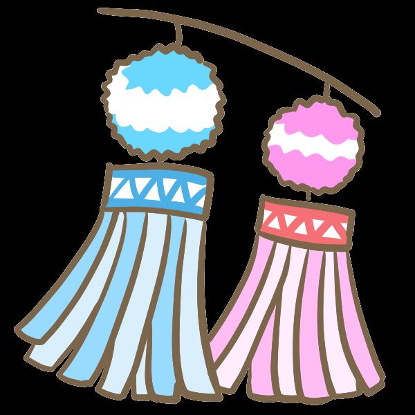 七夕祭りの飾りのイラスト かわいいフリー素材が無料のイラストレイン