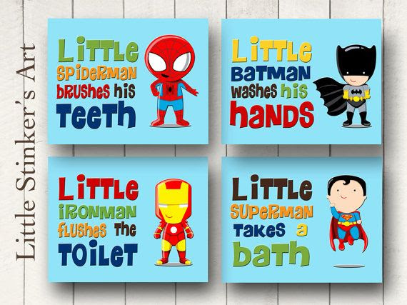 superhero bathroom sets. Superhero Wall Art  Bathroom Decor Boy s DIGITAL Print bclskeystrokes