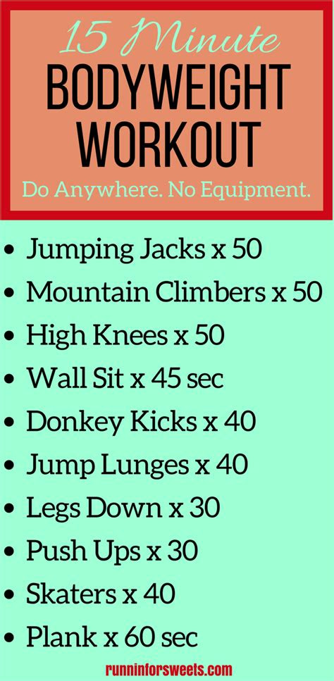 minute bodyweight workout     runnin