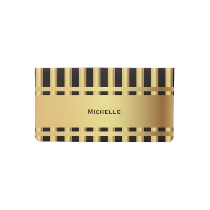 Black and Gold Stripes Checkbook Cover