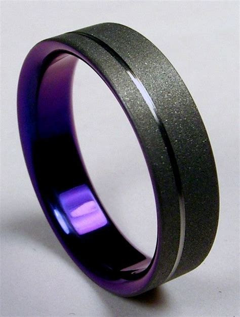 Mens #Wedding band  Burnished grey titanium on the