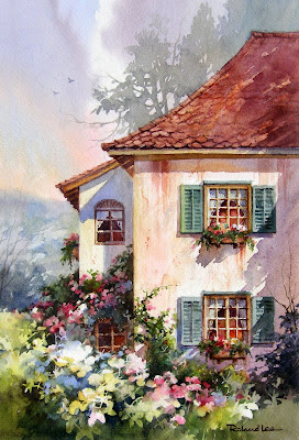Painting by Roland Lee of home in Switzerland