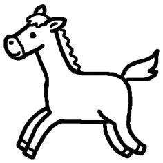 ウマ馬白黒陸の動物の無料イラストミニカットクリップアート素材