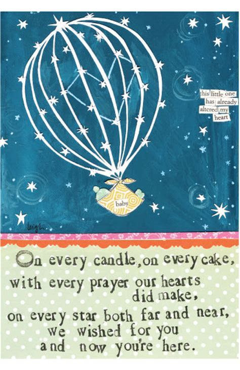 Wished For You New Baby Card   Curly Girl Design Card