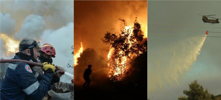 Μάχη με τις φλόγες για δεύτερη νύχτα/ΦΩΤΟΓΡΑΦΙΕΣ: EUROKINISSI, ΑΠΕ