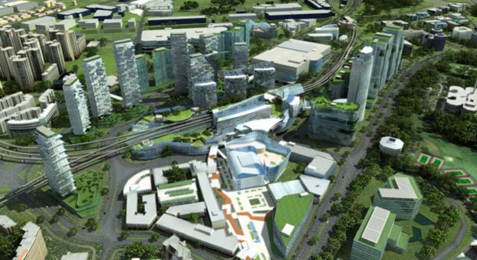 Recreación del distrito de Singapur donde el Gobierno está probando los proyectos de Smart Nation.