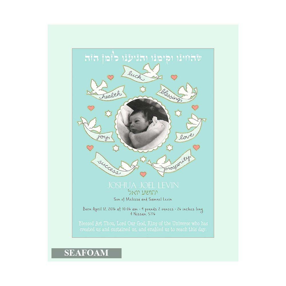 Jewish Gifts New Baby Baby Boy Blessing Personalized Photo Print