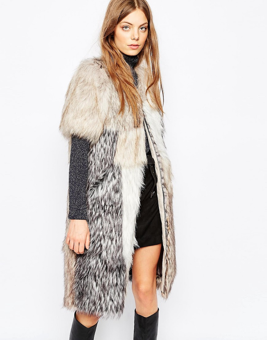 Image 1 of Urbancode Patched Faux Fur Gilet