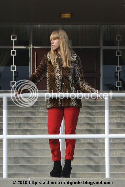 red jeans + leopard jacket