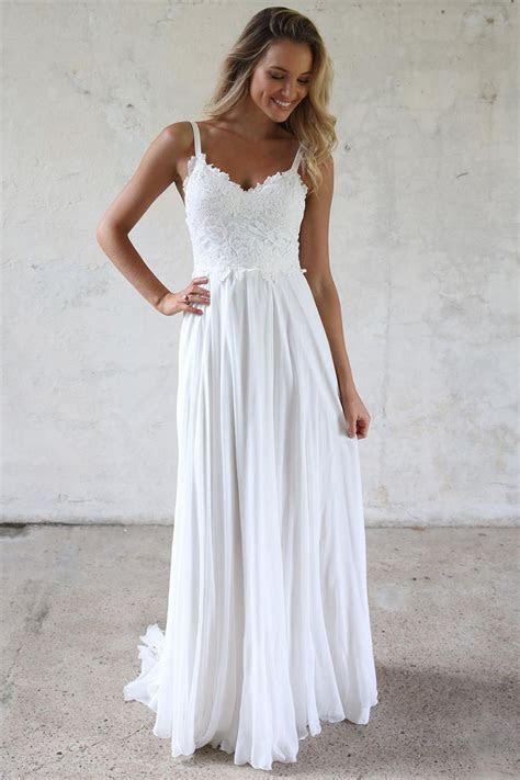 A line Spaghetti Straps Lace Top Beach Wedding Dresses
